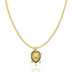 14k Yellow Gold Turtle Charm Pendant With 1.2mm Box Chain Necklace