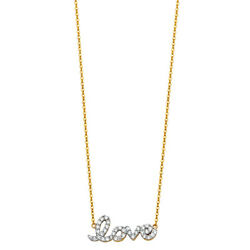 14K Yellow Gold Cursive Love Sign Studded CZ Pendant Charm Chain Necklace -17+1