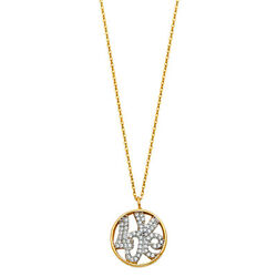 14K Yellow Gold Love Sign in Round Circle CZ Pendant Charm Chain Necklace -17+1