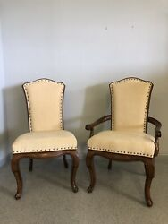 8 Drexel Heritage French Provincial Upholstered Side Arm Dining Chair Set Cherry