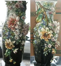 Two Very Large Rare Exquisite Antique French Barbotine Floral Majolica Vases 41