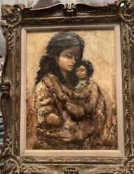 Canvas Oil Painting Of Woman And Childsigned By ArtistPortrait