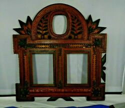 Wwi Commerative Tramp Art Wood Triple Frame In Memory Of The Great European War