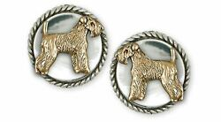 Soft Coated Wheaten Terrier Jewelry Silver And 14k Gold Handmade Wheaten Cufflin