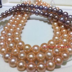 Long Aaaaa 4812-13mm Round Real Natural South Sea Gold Pink Pearl Necklace 14k