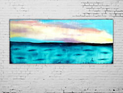 Original Turquoise Blue Abstract Seascape Art On Canvas 36x36 Inch
