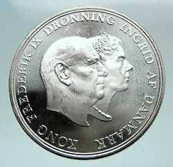 1960 Denmark King Frederick Ix And Queen Ingrid Silver Wedding Anniver Coin I80165