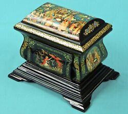 Russian Russia Holuy Handpainted Signed Humpbacked Horse Lacquer Trinket Box