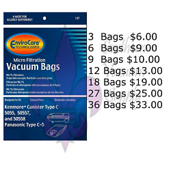Sears Kenmore Type C Vacuum Bags For Models 5055, 50557 And 50588