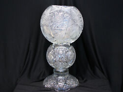 Monumental 22 Old Cut Glass 3 Section Vase - American Brilliant Period Style