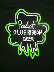 M Black Pabst Blue Ribbon Beer Unique Design T-shirt By The Concert Tee
