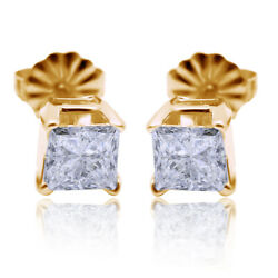 Pair Of 14k Solid Yellow Gold / Diamonds Ladies Earrings 1 Ct Twt Beautiful