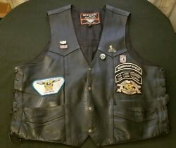 Interstate Leather Size XXXL Leather Motorcycle Biker Vest with Pins
