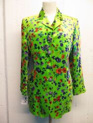Vintage Gianni Versace Couture Line Green Floral Velvet Fitted Jacket Sz 42/sm