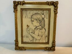 Vintage Mixed Media Artwork Of Little Girl W/ Butterfly Signed William Benecke