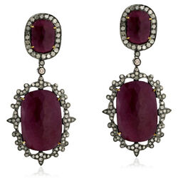 Pave Diamond Gold 74.2ct Ruby Dangle Earrings Sterling Silver Party Wear Jewelry