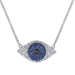 Black Round Spinel And Sapphire And Diamond Evil Eye Pendant Necklace 14k White Gold