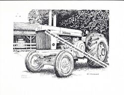 John Deere Model Ar Tractor, Styled Pen And Ink Print