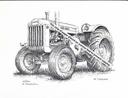 John Deere Model D Tractor, Styled Pen And Ink Print