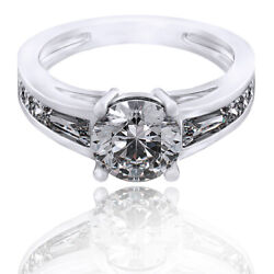 2.36 Ct D/vvs1 Round Cut 14k White Gold Solitaire Wedding Ring