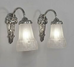 Mouynet And Muller Pair Of 1930 French Art Deco Wall Sconces Lights Lamp 1925