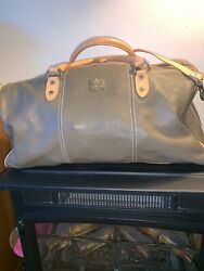 """I Medici Firenze Brown Coco Tan Leather Duffle Weekender Overnight Bag 21"""" Vguc"""