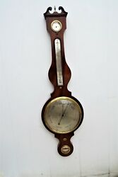 Antique Inlaid Mahogany Barometer And Thermometer Large 10 Inch Dial