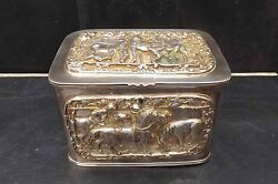 Tea Caddy Circa 1800 Silver Plate With Horse And Jokeyand039s Scenes In Relief