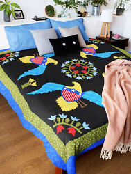 Patriotic Eagles And Eloral Hand Applique Finished Quilt - Joyful Fun Queen Quilt
