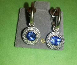 Antique 14k White Gold Earrings With Round Blue Diamonds.