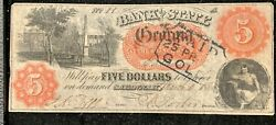 1860 5 The Bank Of The State Of Georgia Note Eatonton Branch Haxby G274a Rare