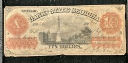 1857 10 The Bank Of The State Of Georgia Note Augusta Branch Haxby 220a. Rare