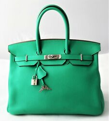 Authentic Hermes Birkin Green Menthe Clemence Leather 35cm PHW Bag