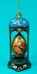 Vintage 2002 Russian Russia Holuy Signed Handpainted Egg W/ Stand