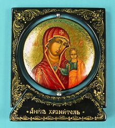 Vintage Russian Russia Guardian Angel Handpainted Laquer Icon Mary Jesus
