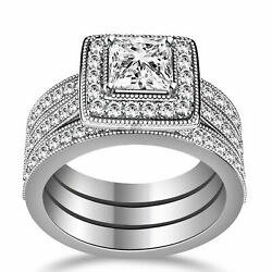 2.50ct Princess Cut Simulated Diamond Engagement And Wedding Rings 14k White Gold