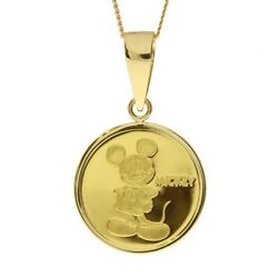 Disney Necklace K24 Pure Gold Medal Mickey And Minnie [1 / 25oz] From Japan [a0924