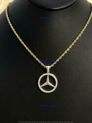 2ct Round Diamond Mercedes Mark Peace Bust Down-menand039s Pendant 14k Yellow Gold Gp
