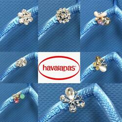 Original Havaianas SLIM Steel Blue Crystal Or Personalized Crystal Charms