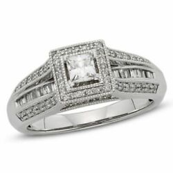 1/2 Ct Natural Diamond Frame Vintage Style Engagement Ring In 10k White Gold