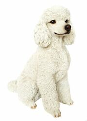 Sitting Poodle White Large Dog Figurine - Life Like Statue Home / Garden New