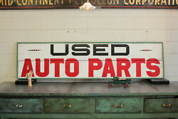 1940s Vintage Hand Painted 8and039 Advertising Trade Car Sign Auto Parts Wood Dealer