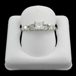 Estate 0.5ct Diamond Ring G-h And Si Certified In White Gold Over