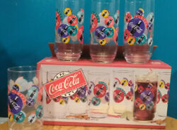 Coca Cola Clear Always Indiana Glass 16 Oz. Glasses, Logo Cover Glass - Set Of 8