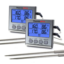 2pcs Digital Dual Probe Meat Cooking Thermometer Oil Grill Bbq Food Time Smoker