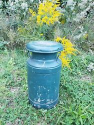 Antique Johnson Food Products Metal Milk Dairy Can Ohio Teal Green 20x10