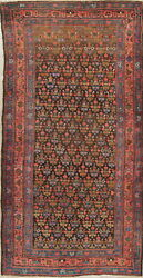 Pre-1900 Vegetable Dye All-over Bakhshayesh Hand-knotted Wool Runner Rug 4x9