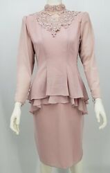 Pre-owned Vintage URSULA OF SWITZERLAND Dress 80s Designer Lace Dress Blush La