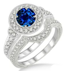 10k White Gold Sapphire And Diamond Antique Halo Bridal Set Engagement Ring 1.5ct
