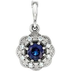 Blue Sapphire And Natural Diamond Accent Pendant 14k White Gold